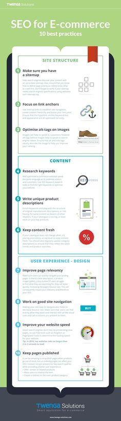 10 Onsite SEO Best Practices for Ecommerce Websites [Infographic] - SEO Marketing Tool - Marketing your keywords with SEO Tool. - SEO for E-commerce 10 best practices Be sure to include a site map focus on link anchors check your site speed and more. Search Engine Marketing, Seo Marketing, Marketing Digital, Internet Marketing, Online Marketing, Affiliate Marketing, Guerrilla Marketing, Street Marketing, Seo Blog