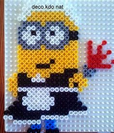 Minion hama perler beads by deco.nat by taylor Perler Beads, Hama Beads Mario, Fuse Beads, Easy Perler Bead Patterns, Fuse Bead Patterns, Beading Patterns, Minions, Hama Beads Halloween, Minion Pattern