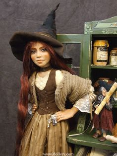 2010 Witch Cupboard by Schloesser Haunted Dollhouse, Haunted Dolls, Beautiful Witch, Beautiful Dolls, Halloween Doll, Halloween Witches, Witch Spell, Jar Art, Kitchen Witch