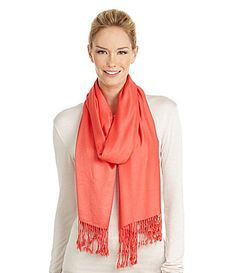 Collection 18 Satin Finish Pashmina (Dillards).  Pashmina scarf in coral, dark or dusty purple, or teal.  Can be from anywhere (usually you can find them at places like Marshalls, TJ Maxx).