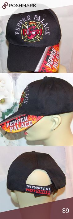 Pepper Palace Hat The Planet's No 1 Hot Shop Hat Pepper Palace Hat The Planet's No 1 Hot Shop Hat Embroidered with Flames. This is cool hat ok hot hat :) It has a flaming pepper with a bottle of hot sauce and sunglasses & flames so you got it all. It has heavy embroidery even on the brim. It is a rigid front hat that retains its shape. It has The Planet's #1 Hot Shop on the Velcro strip on the back. It is in new condition with the Velcro adjuster for a perfect fit every time BUNDLE 2 or more…