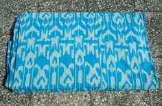 Blue Cotton Reversible Blanket, Ikat Kantha quilt Textile, Vintage Kantha Throw, bedroom Bediing Handmade Indian Tapestry Bedspreads
