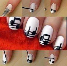 Easy Nail Designs - 22. Musical Notes Nail Art Tutorial