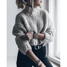 cropped knit sweater and black denim
