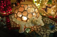 Lighted Stained Glass Turtle and Clay Lamp