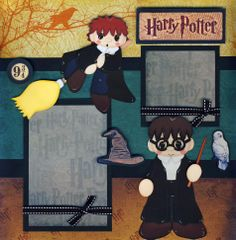 Harry Potter Scrapbook Layouts | Harry Potter 2 Premade Scrapbook Pages Paper Piecing 4 Album ...