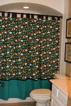 Bathroom redo--love the shower curtain and the art ideas are really easy to duplicate.