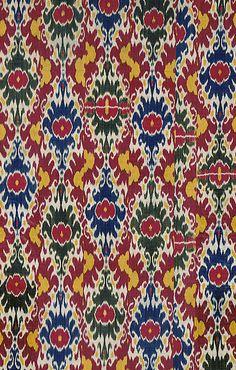 Does it get any more beautiful? Smithsonian; Ikat dyed silk warp, Uzbekistan; Date: mid 19th century