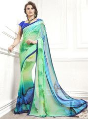 Green & Blue Color Georgette Party Wear Sarees : Tarika Collection  YF-33317