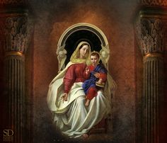 Mary & Child Jesus, between the Seraphim Lady Madonna, Madonna And Child, Blessed Mother Mary, Blessed Virgin Mary, Religious Icons, Religious Art, Joseph, Images Of Mary, Mary And Jesus