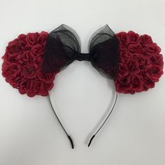 Red Rose Flower Minnie (Mickey) Mouse Ears with Black Glitter Tulle Bow