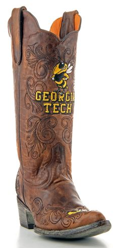 Gameday Georgia Tech Ladies Leather Boots - Brass