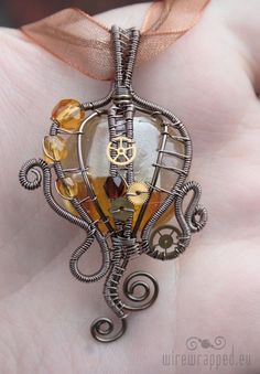 Amber Steampunk pendant by ten