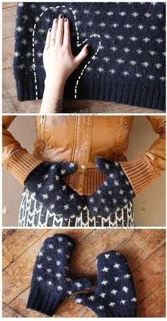旧毛衣不穿了可以按照手的形状剪两片,然后…_来自团团小团团的图片分享-堆糖网