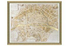 Real Gold Leaf Paris Map