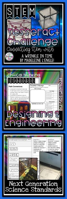 If you read A Wrinkle in Time by Madeleine L'Engle this is the STEM Challenge for you! Connecting STEM with a Great Book: A Wrinkle in Time STEM Challenge will get your students excited about reading. Students will design a TESSERACT. It is a great way to integrate literature and STEM! This lesson also connects with several geometry standards.
