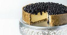 A decadent, rich, and creamy cashew cream cake topped with blueberry chia seed jam. - Fitnessmagazine.com