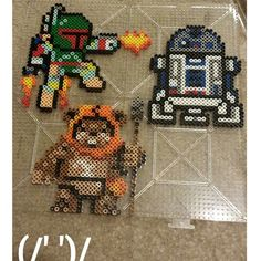 Boba Fett, R2D2 and Ewok - Star Wars perler beads by krystalsaphire