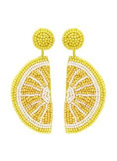 24 Lemon Print Pieces We Love Seed Bead Jewelry, Seed Bead Earrings, Unique Earrings, Statement Jewelry, Women's Earrings, Beaded Jewelry, Crochet Earrings, Jewellery, Bead Embroidery Jewelry