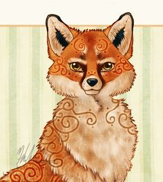 ACEO Fox Vixen Celtic Swirl Digital Art Fantasy by helloheath, $8.00