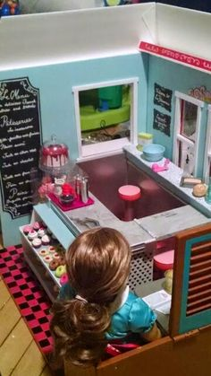 TUTORIAL -- Creating a French Bakery for American Girl dolls -- using foam core and the Our Generation Retro Diner -- visit this blog for step by step views of how AG*Doll*Play created her version of AG's Patisserie