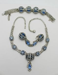 Vintage Parure Necklace Bracelet Earrings Baby Blue and Clear Rhinestone