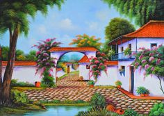 Cuadros Modernos Pinturas y Dibujos : Pinturas de Paisajes Coloniales, Cuadros Colombianos