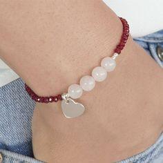 ▷ ideas of fashion bracelets as an indispensable accessory - silver bracelets, gemstones, rose quartz, heart detail - Ankle Bracelets, Bracelets For Men, Jewelry Bracelets, Beaded Anklets, Beaded Jewelry, Beaded Necklace, Coin Pendant Necklace, Ankle Chain, Bracelet Crafts