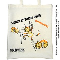senior cat adoption | Slogan: SENIOR KITTIZENS ROCK! (Between Naps)