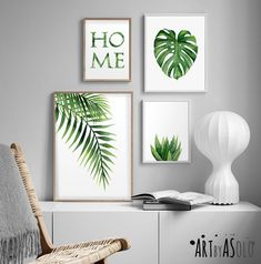 Tropical art set, Set of 4 Tropical leaves, Leaf prints set, Banana leaf, Palm Monstera Tropical Dec Art Tropical, Tropical Home Decor, Tropical Houses, Tropical Leaves, Tropical Interior, Tropical Colors, Tropical Furniture, Palm Tree Leaves, Modern Tropical