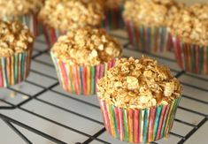These healthy whole grain applesauce oatmeal muffins are a great on-the-go snack and will tide kids over until mealtime. Muffin Recipes, Apple Recipes, Baking Recipes, Cake Recipes, Healthy Recipes, Applesauce Muffins, Oatmeal Muffins, Breakfast Cake, Everyday Food