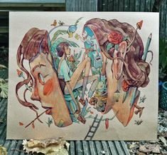 """Say hi to my latest painting 🎨 """"Inside Her head"""" is painted with watercolour on a piece of random card I bought at a craft shop for a… art drawing sketches artworks Art Inspo, Drawing Sketches, Art Drawings, Art Amour, Bel Art, Art Du Croquis, Art Mignon, Arte Sketchbook, Sketchbook Layout"""