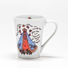 Caneca com o tema Nossa Senhora de Aparecida!  #handmade #porcelana #porcelanadecorada #porcelanapersonalizada #decoração #decor #pintadoamão #feitoamão #brasil #brazil #lembrançadoBrasil #homedecor #porcelain #NossaSenhora #religião