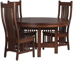 54 Inch Diameter Vail Dining Table, Vail Dining Chair in Mahogany Oak from Erik Organic