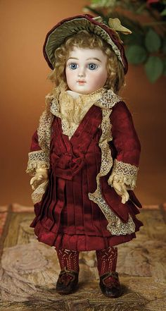 Bread and Roses - Auction - July 26, 2016: 340 Petite French Bisque Premiere Bebe by Emile Jumeau in Original Costume