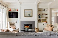 Living Room Design with Built-In Fireplace