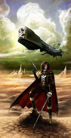 arcadia, harlock, and space pirate (harlock saga, uchuu kaizoku captain harlock, and waga seishun no arcadia) drawn by luis royo - Danbooru Space Pirate Captain Harlock, Star Blazers, Gaming Tattoo, Luis Royo, Nostalgia, Classic Tv, Geek Culture, Brown Boots, Science Fiction