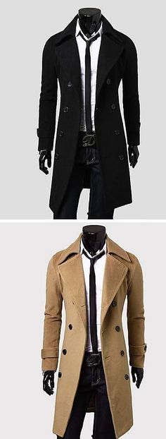 A good trench coat is what your office look lacks... Check out this chic men's coat in camel, black, grey colors at $21.84.
