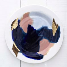 Glacier Hand Painted Navy Blue Peach 14k Gold Porcelain