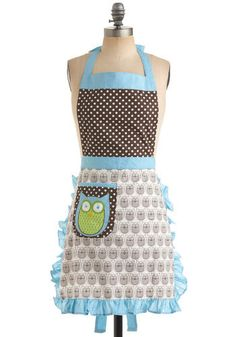 Cooking Owl Day Apron / Mod Retro Vintage Kitchen / ModCloth.com