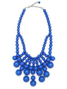 Cobalt Bauble Bib Necklace