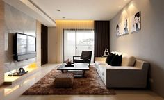 Nice Home Design, Modern Living Room Decor Black Table Brown Fur Rug White Sofa  Tv Hand Chair Painting Grey Wall Tile Curtain Door Window Ceramic Floor And  Many ... Great Ideas