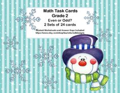 This is great practice for identifying even and odd numbers. This fun package offers two sets of task cards with 24 snowmen themed cards in each set. There is a student answer sheet for each set and an answer key for each. This is helpful practice for students who might need extra drill or for those early finishers that you want to provide with a meaningful review. Extra packs of cards could be given to students for individualized homework assignments. Aligned with…