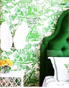 2013 pantone color of the year. Emerald is a beautiful jewel tone! Would make a beautiful living room color. I would even consider emerald wallpaper, like shown here. Emerald Green Bedrooms, Green And White Bedroom, White Bedrooms, Bold Colors, Green Colors, Happy Colors, Toile Wallpaper, Green Wallpaper, Wallpaper Headboard