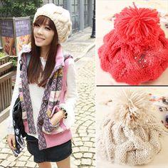 Korean style Fahion Women Girl Winter Warm Beret Braided Baggy Beanie Hat Cap #other #Beanie
