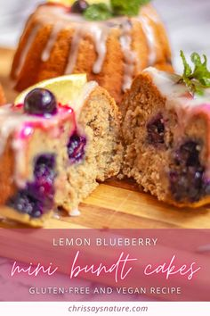 Blueberry and lemon is always such a good combination. I just love the juiciness from blueberries and slightly sour taste from lemons. So this is the perfect combination in many recipes including these mini bunt cakes. The full recipe is gluten-free, vegan and so delicious. #dessert #blueberries #recipe / Simple blueberry lemon dessert. Easy mini bundt cakes. Amazing muffin recipes. Gluten-free baking. Healthy vegan recipes.