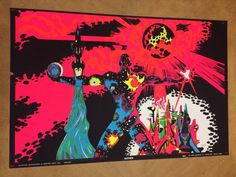 Saturn Vintage Houston Blacklight poster Psychedelic Collage 1970 Pin-up Neon #Vintage