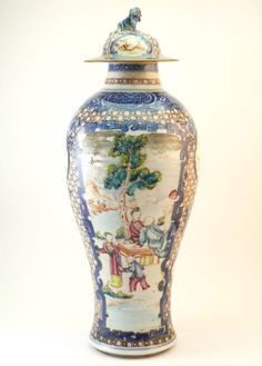 #Antiques #Gifts ANTIQUE 18thC CHINESE QIANLONG FAMILLE ROSE MANDARIN PORCELAIN LIDDED URN VASE #Collectors