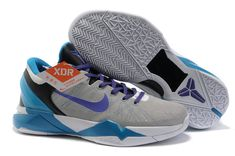 half off 58d61 47bc1 Air Foamposite Nike Zoom Kobe 7 Wolf Grey Blue Purple  Nike Zoom Kobe 7 -  This Nike Zoom Kobe 7 Wolf Grey Blue Purple features wolf grey upper with  Flywire ...
