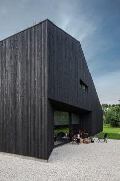 A Minimalist Villa Designed By FillieVerhoeven Architects Villa Design, Facade Design, House Design, Wood Architecture, Architecture Details, Conception Villa, Modern Brick House, Villas, Dark House